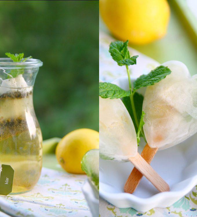 Selbstgemachtes Wassereis aus Tee, Minze und Zitrone