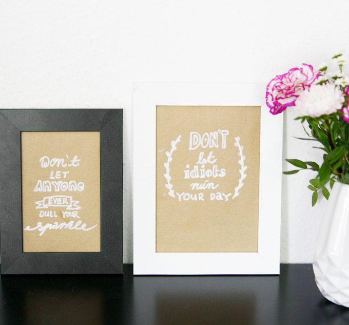 {Lettering} Typo-Bilder auf Packpapier & mit weißer Schrift