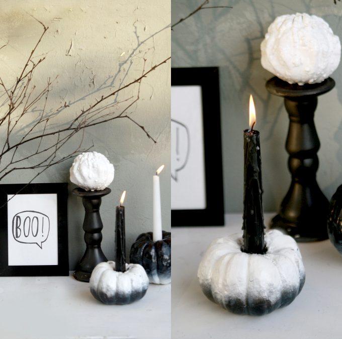 {Halloween} Black&White DipDye-Kürbiskerzen + Giveaway-Gewinner