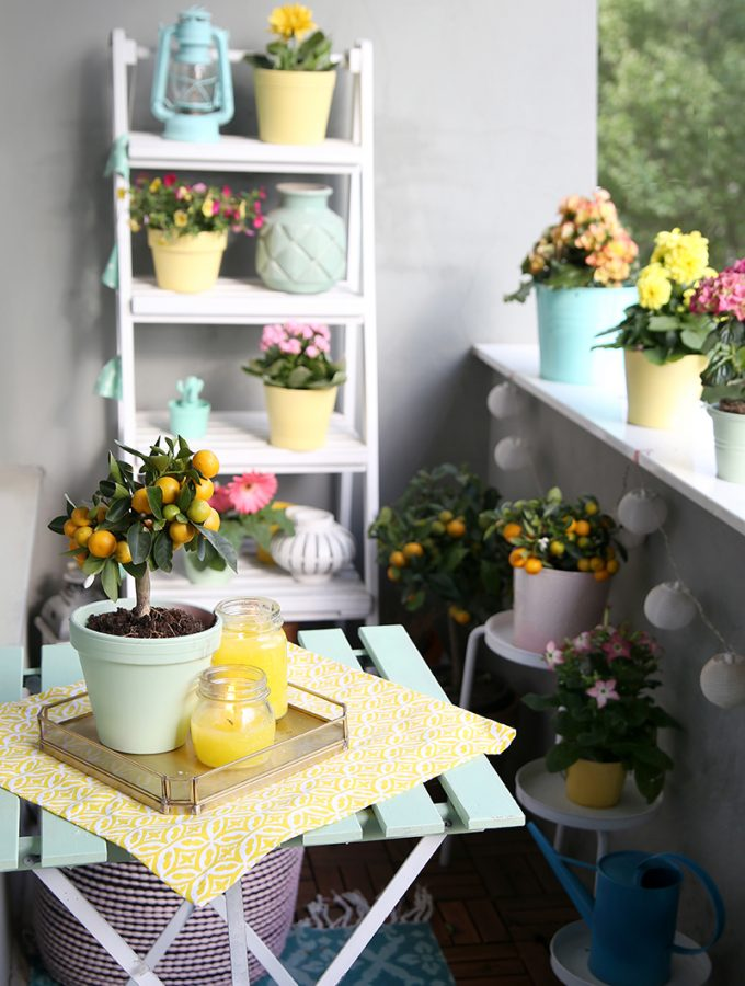 {DIY} Citronella-Kerzen & Balkon in Mint und Gelb