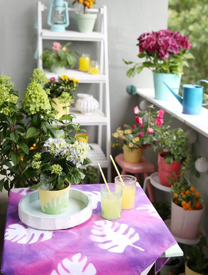 {DIY} Pflanztopf und Tischdecke mit Blättermuster