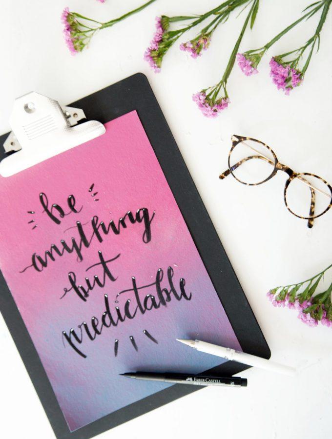 {DIY} Lettering mit Farbverlauf als Untergrund