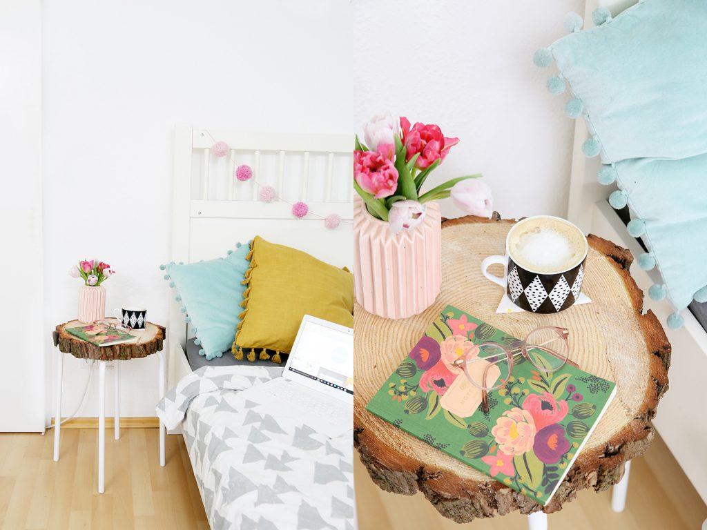 diy beistelltisch aus baumscheibe und ikea hocker mein feenstaub. Black Bedroom Furniture Sets. Home Design Ideas