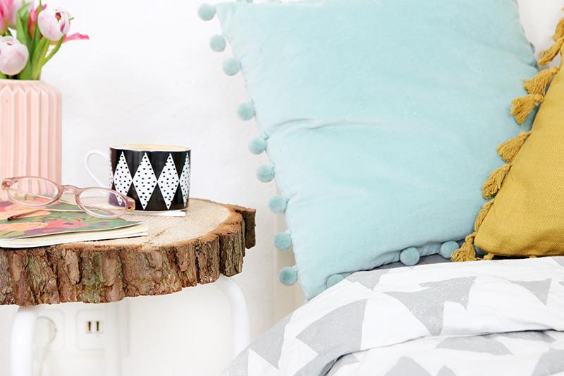 Diy Beistelltisch Aus Baumscheibe Und Ikea Hocker Mein Feenstaub