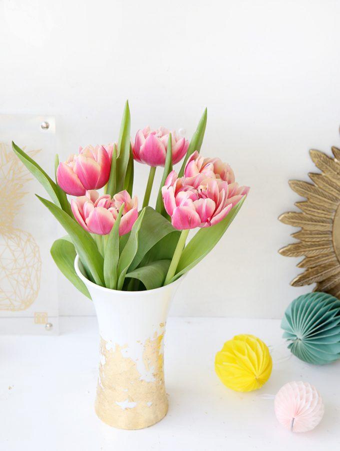 {DIY} Vase mit Blattgold verschönern