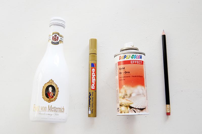Fürst von Metternich Flaschen als DIY-Deko zum Frühstück an Ostern