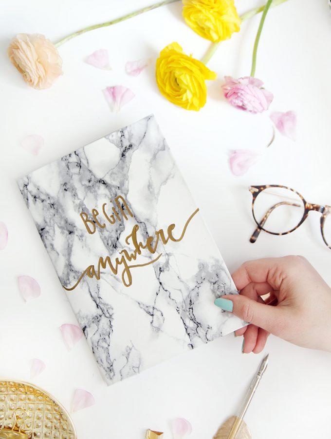 {DIY} Marmor-Notizbücher mit Lettering selbstgemacht