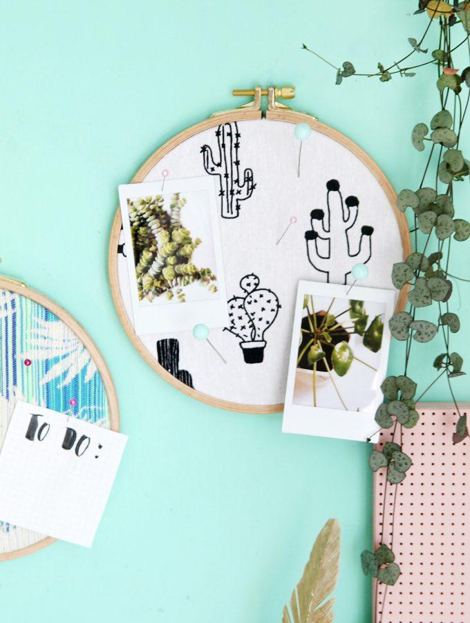 {DIY Challenge} Stoff & Kork: Stoff-Pinnwand aus Stickrahmen
