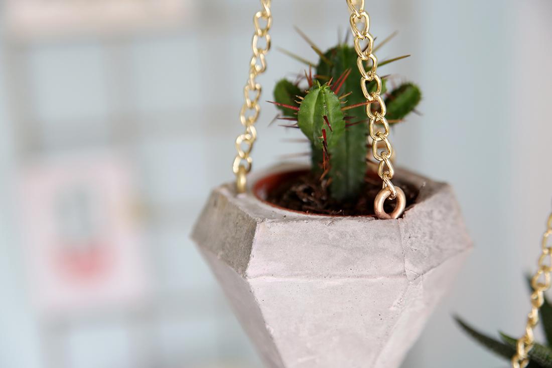 DIY Beton-Diamant als Plant Hanger für Mini Kakteen