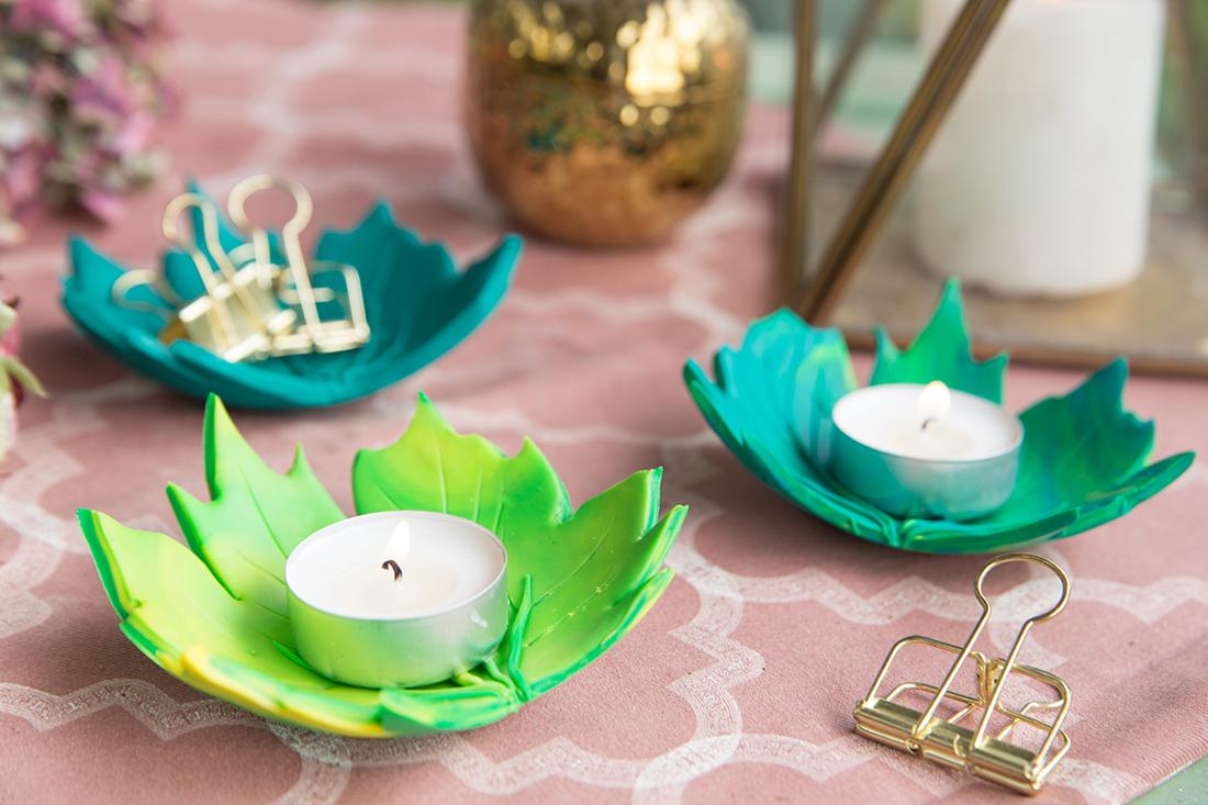 Kreative DIY-Idee zum Selbermachen: Herbstliche Blätter-Teelichthalter aus Fimo einfach selbermachen | Herbst DIY mit Vorlage zum Ausdrucken