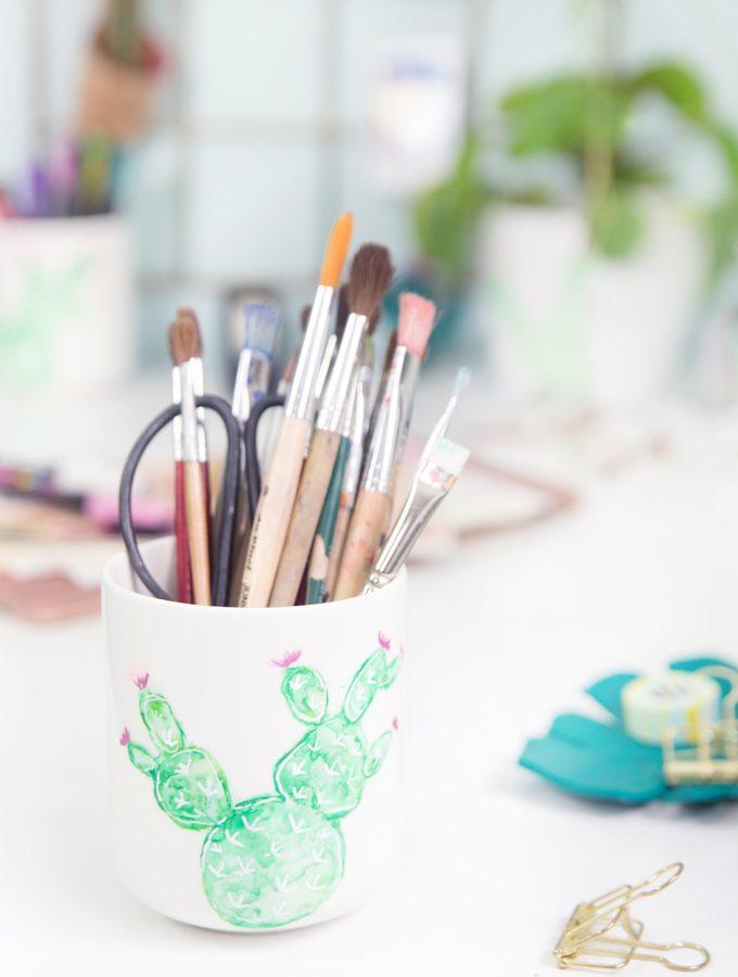 DIY Aquarell-Kaktus auf Porzellan und Lettering auf Glas & Giveaway