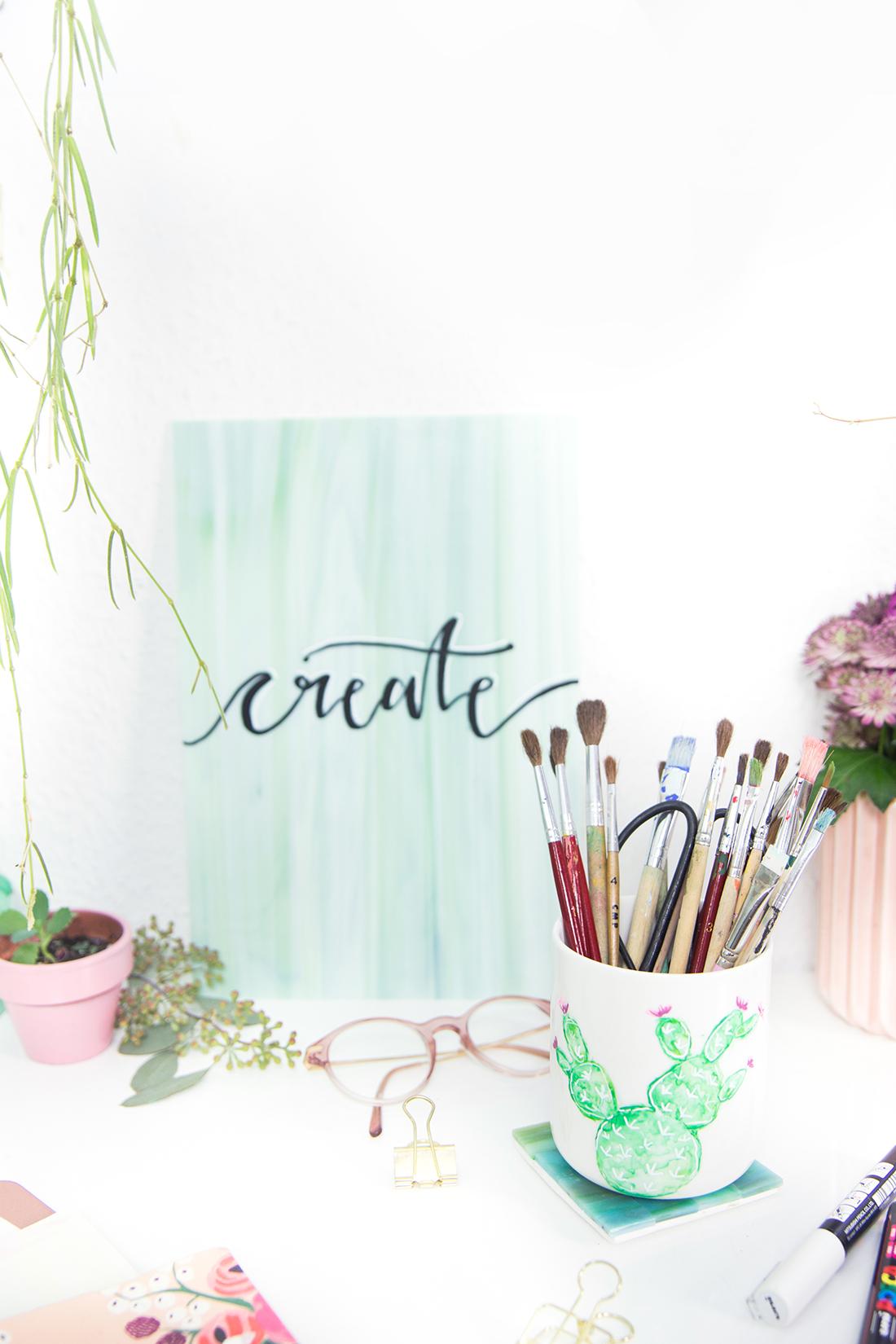 DIY Aquarell-Kaktus auf Porzellan und Lettering auf Glas & Giveaway ...