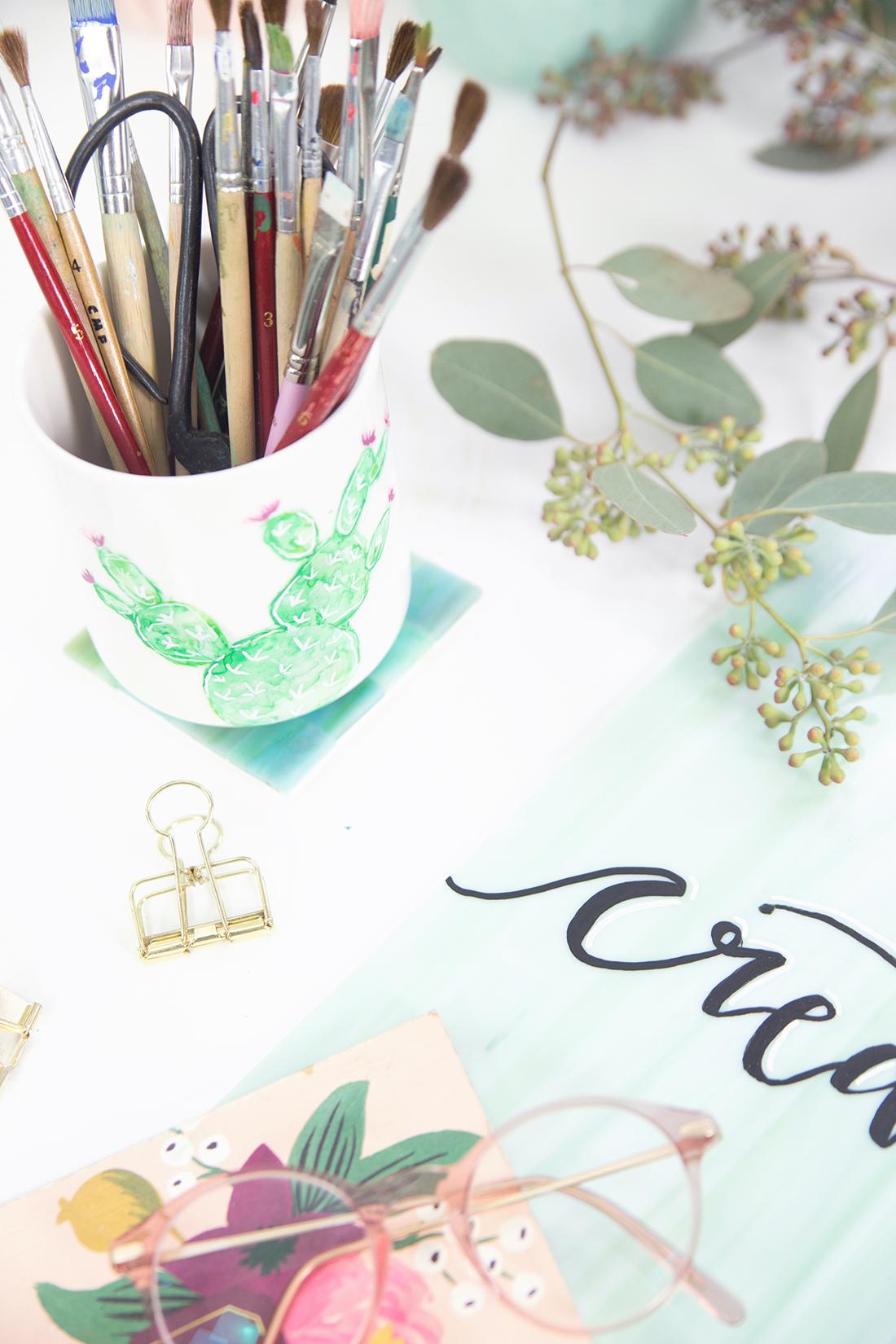 diy aquarell kaktus auf porzellan und lettering auf glas. Black Bedroom Furniture Sets. Home Design Ideas