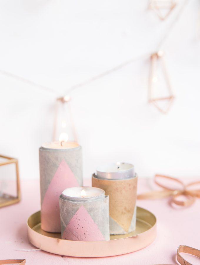DIY: Geometrische Kerzenhalter aus Beton | aus Zewa-Rollen