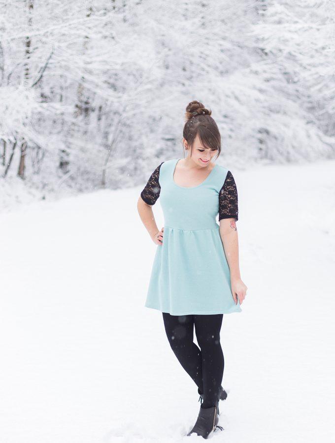 Mein Weihnachtskleid mit Glitzersweat und Spitze | naehdirwas 12