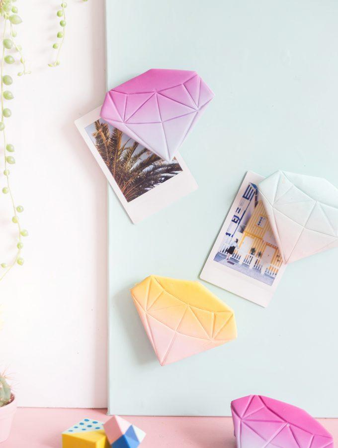 DIY: Diamanten-Magneten aus FIMO | mit Farbverlauf
