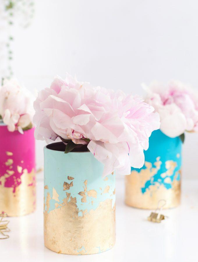 DIY: Blattgold-Vasen aus FIMO in Pastellfarben