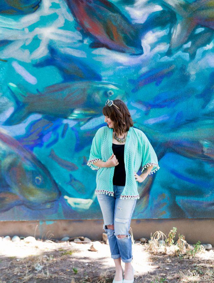 #naehdirwas: Transparenz – mein Chiffon-Kimono in Mint