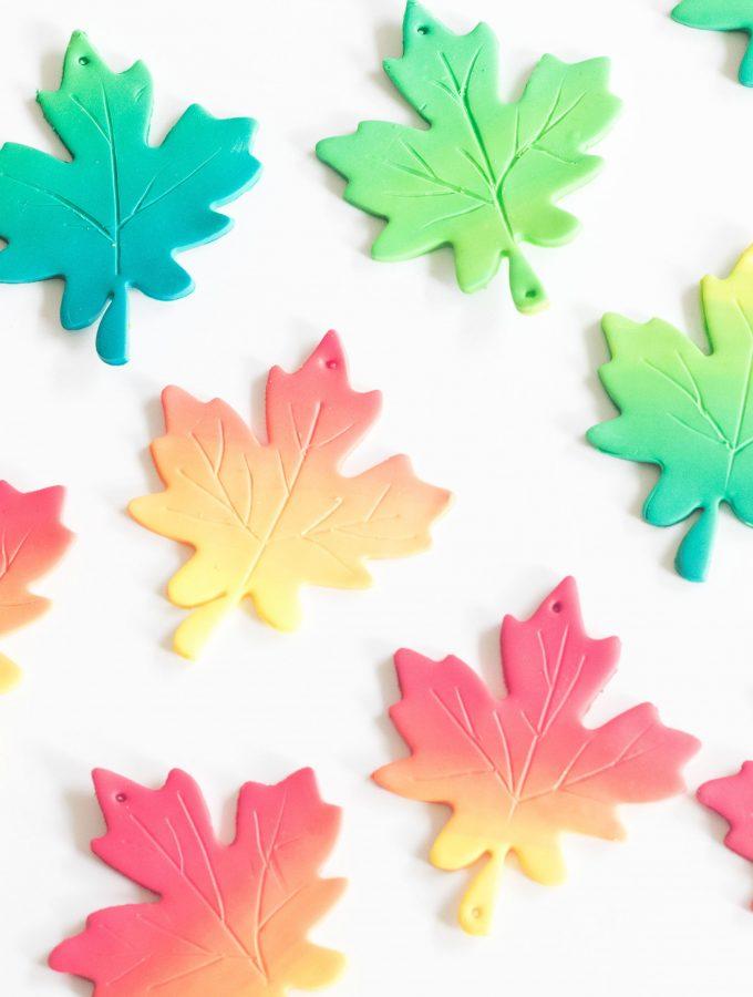 DIY Herbstblätter mit Farbverlauf aus FIMO basteln